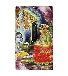 PrintDhaba Lord Krishna D-3423 Back Case Cover for NOKIA LUMIA 920 (Multi-Coloured)