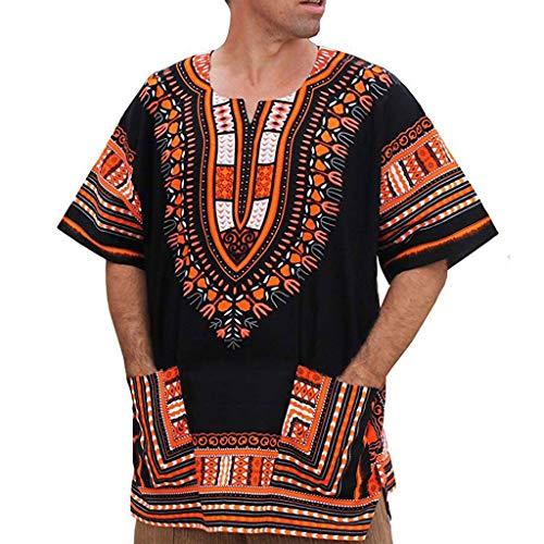 TEBAISE Unisex Dashiki Traditionelles Oberteil mit Afrikanischem Druck Herrenmode Kurzarm 2019 Sommer African Print Dashiki T-Shirt Tops Oberteil Beiläufige Kleidung Männer Hemd Hippie Vintage Blusen -