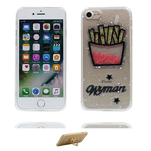 Custodia iPhone 7, Silicone trasparente Case iPhone 7 copertura Cover e ring supporto Shell Graffi Resistenti - 3D Bling Patatine fritte Color - 4