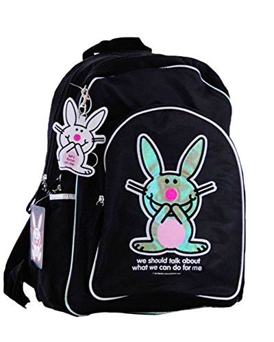 Borsa US Happy Bunny - marca zaino urbano Design Nero per studente e adulti - 40 x 30 x 12 cm - American Backpack Bag