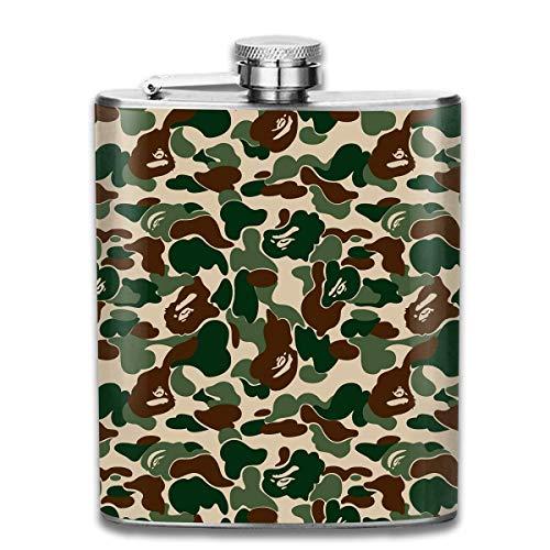 Löwen Camo (FGRYGF Edelstahlflasche, Whiskey Flask Vodka Alcohol Flask Bape Ape Camo Green Portable Pocket Bottle, Bag Bottle, Camping Wine Bottle, Suitable for Men and Women 7oz)