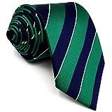 Shlax&Wing Nuevo Traje De Negocios Hombre Seda Corbatas Para Verde Azul Rayas Extra...