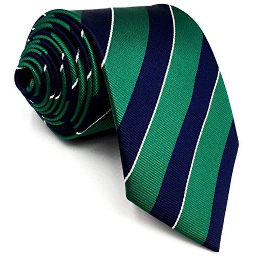 Shlax&Wing Neu Geschäftsanzug Herren Seide Krawatte Grün Blau Streifen Extra lang - Krawatte Streifen