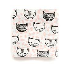 Miracle Baby 100% Baumwolle Baby Wickeltuch aus Musselin,, 120x 120cm, rosa Katze