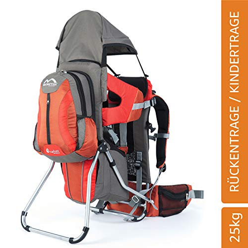 MONTIS EXPLORE EVOLUTION, Zaino porta bimbo, fino a 25 kg, 2000g, Arancione/Grigio