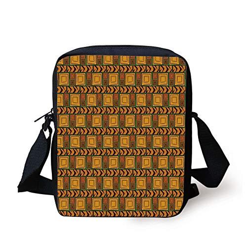 Zambia,Kenya Ethnic Motif with Geometrical Aztec Native American Effects Print,Yellow Brown Green Print Kids Crossbody Messenger Bag Purse (Coach Laptop Bag 13)