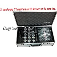 EXMAX? ATG-100T 195MHz-230MHz Professional Transmitter for Wireless Tour Guide system/Monitoring system with aluminium alloy Charge Case,wireless tour guide system for teaching, tour guides, conference (2 Transmitters and 30 Receivers)