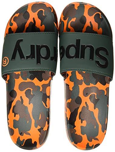 Superdry Herren AOP Beach Slide Badelatschen, Mehrfarbig (Khaki/Black/Orange Splodge Cam X2k), 44-45 EU
