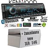 BMW 3er E46 - Autoradio Radio Kenwood KMM-BT504DAB - DAB+   Bluetooth   iPhone/Android   Spotify   VarioColor - Einbauzubehör - Einbauset
