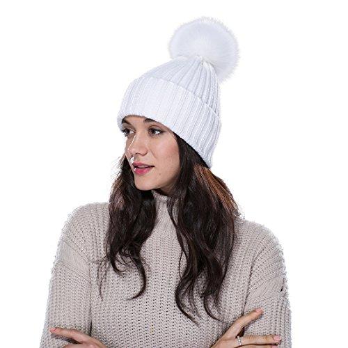 URSFUR Unisex gorra o pasamontaña espesa de algodón con pompón de mapache orejas tapadas cálido en otoño y invierno
