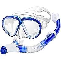 OMORC Schnorchelset, Schnorcheln Set Erwachsene mit Anti-Fog Wasserdichte gehärtetem Glas Snorkel Set Taucherbrille mit Dry Snorkel Tauchmaske für Kinder Erwachsene