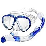 OMORC Schnorchel Set mit Anti-Fog gehärtetes Glas Tauchmaske Ultra Dry