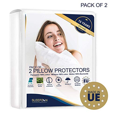 ⭐ Funda de almohada Impermeables 50x75 cm - Juego de 2 - Felpa 100% Algodón Bi-Home,...