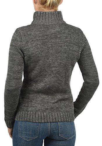 DESIRES Phenix Damen Strickjacke Grobstrick Cardigan Strickcardigan mit Reißverschluss Und Stehkragen Aus 100% Baumwolle, Größe:XS, Farbe:Dark Grey (2890) - 4