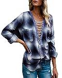 Kyerivs Damen Kariert Shirt Langarm Oversize Casual V-Ausschnitt Lace up Loose Bluse Tops (Blau, XL)