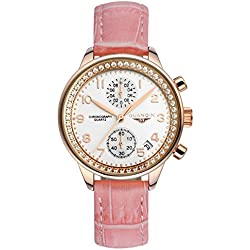 GUANQIN Fashion Formal Brand Women Analogue Waterproof Quartz Stainless Steel and Leather Calendar Chronograph Rhinestone Wrist Watch Simple Design Gold White Pink