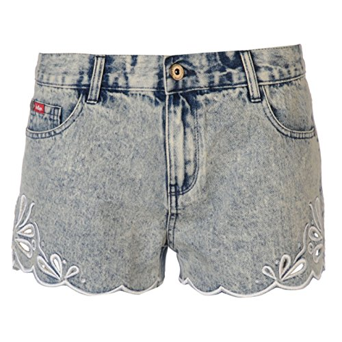 Lee Cooper Damen Denim Shorts Cut Outs Kurze Jeans Hose Sommer Freizeit Acid Wash Denim 12 (M)