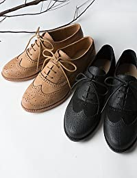 NJX/ Zapatos de mujer-Tacón Plano-Confort-Oxfords-Casual-Cuero-Negro / Marrón / Rojo , red-us5.5 / eu36 / uk3.5 / cn35 , red-us5.5 / eu36 / uk3.5 / cn35