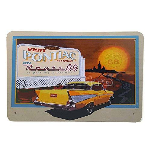 1957Chevrolet Besuchen Pontiac Illinois Route 66, Metall blechschild, dumm Öl Scrub Art Vintage Style Wandbild Ornament Kaffee Dekor, 20x 30cm (Vintage öl-zeichen)