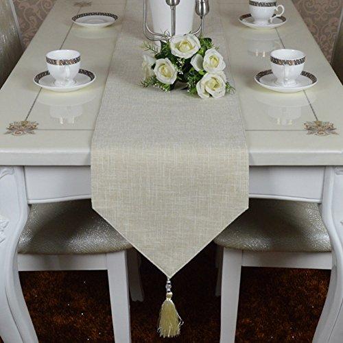 ERRU-Drapeau de table Chemin de Table en Coton et Lin Chemin de Table Simple Couleur Uni Classique Serviette de Table en Nappe de Table Vintage Nappe Nappes (Couleur : Beige, taille : 30 * 180cm)