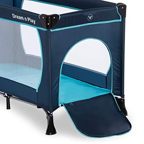 Hauck Kindereisebett Dream N Play Plus inklusive Matratze, seitlichem Reißverschluss, und Transporttasche, ab Geburt, tragbar, faltbar und klappbar, blau (navy aqua) 120 x 60 cm - 10