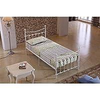Elegante estructura de cama individual de 90 cm en color blanco de metal reforzado.