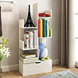 TQ Bücherregal Kreativer Baum-Förmiger Boden Kleine Bücherregale Einfach Modernes Regal-97 * 48 * 20Cm,White
