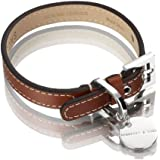 Hennessy & Sons Hand Made Royal British Saddle Leather Dog Collar with White Stitching, 29 - 35 x 1.8 x 0.3 cm, 60 g, Red/ Brown