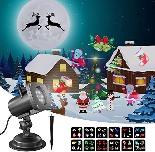 OxyLED Weihnachten LED Projektorlampe,Projektor Lichter LED Effektlicht Mit 12 Motiven,IP65 Wasserdichte Innen/Außen Weihnachten Licht Projektor für Party Urlaub Festival Weihnachten