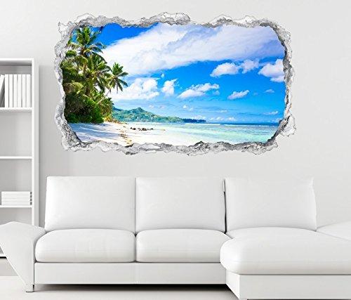 3D Wandtattoo Landschaft Malediven Strand Meer Wand Aufkleber Durchbruch Stein selbstklebend Wandbild Wandsticker 11N415, Wandbild Größe F:ca. 140cmx82cm