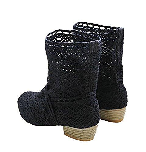 Minetom Donna Estate Autunno Traspirante Stivali Cavo Pizzo Zeppa Tacco Sandali Boots Stivaletto Basso Tacco Nero