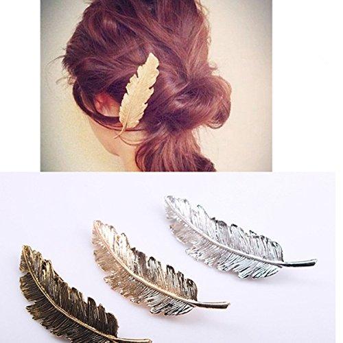 3-teiliges Haarspangen-Set, Feder-/Blatt-Form, Haarklammer, Haar-Accessoire, goldfarben/silberfarben/bronzefarben