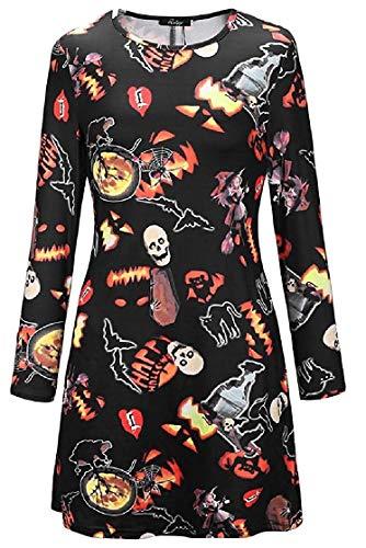 Lejorce Langärmeliges Halloween-Rundhalsausschnitt mit Rundhalsausschnitt und bedrucktem Midi-Kleid (Farbe : Pattern9, Größe : US XS=China S)