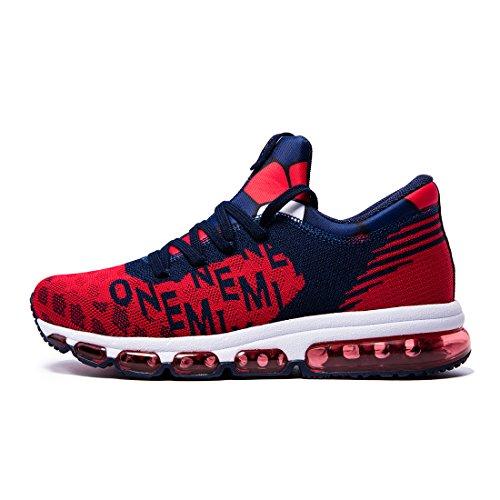 Onemix Chaussures de Sport Homme Tricoter Coussin dAir Dark blue / Red