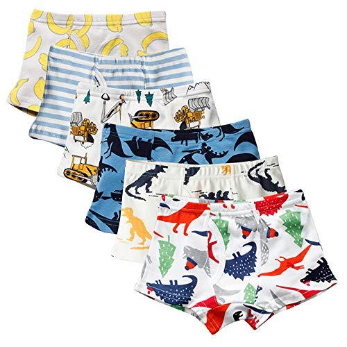 Kidear mutande per bambini in cotone morbido serie kid mutande boxer assortiti per bambini piccoli (confezione da 6) (stile3, 4-5 anni)