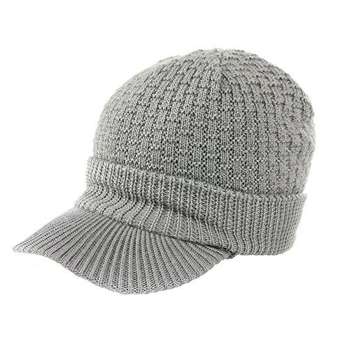 Siggi Winter Beanie Visor, Herren Wolle Knit Kabel Cuff Beanie Cap für Frauen, 68069_Grey, M