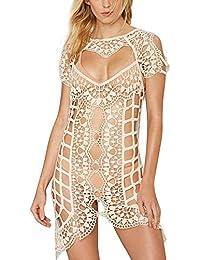 Vandot Sexy Damen Boho V-neck Lace häkeln Bikini Cover Up Spitze Strandkleid Bademode Dress Up Jacke Pullover Bluse Shirt Tops Sexy Beach Bikini Dress S-XL