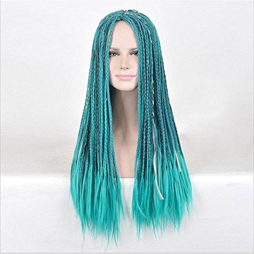 YUSHI Volle Spitze-Perücke machte volle Spitze-Perücke-lockiges gelocktes Haar Volle Spitze-stellte künstliche Blaue Perücke