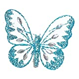 Homestreet Butterflies With Glitter Diamante Body And Clip On Butterfly Reverse (Teal)
