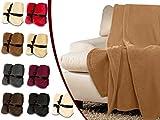Flauschdecke mit Cashmerefeeling - klassisch unifarbenes Design in 9 modernen Farben - in 1 Komfortgröße - herrlich cashmereweiches Gefühl und besonders wärmend, camel