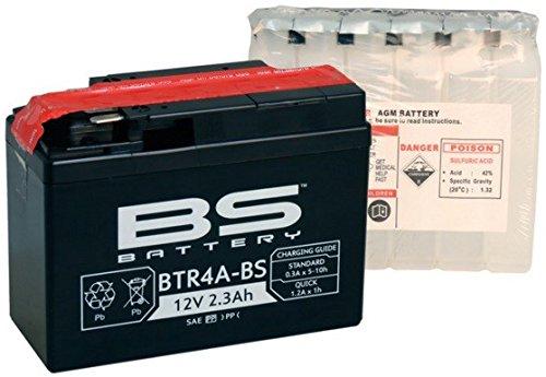 Xfight-Parts Batterie BTR4A-BS 12V 2,3Ah 0,14 Liter DIN 50415 MTF Wartungsfrei 111x85x48mm 0.537.999-5 für Honda SFX 50