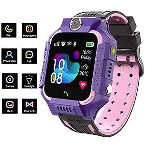 linyingdian Smartwatch Niños,Reloj Inteligente Niños con Flashlight, IP67 LBS SOS, Cámara, Smartwatch con Ranura para Tarjeta SIM, Regalo Niño Niña de 3-12 Años Compatible con iOS/Android (Púrpura) 5