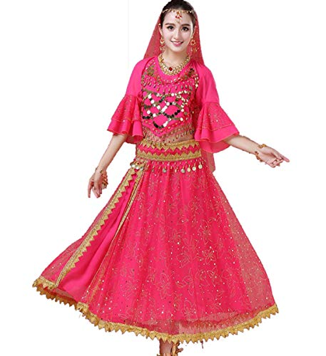 ZYLL Bollywood Tänzerin Kostüm, Tanzkostüme Indian Dance Bauchtanzkleid Set 7,Pink