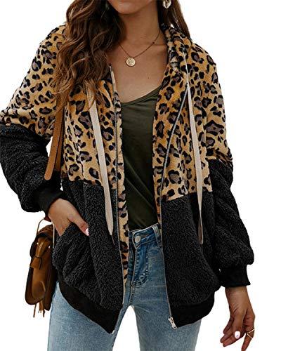 SUNNYME Sudadera Caliente y Esponjoso Tops Chaqueta Suéter Abrigo Jersey Mujer Otoño-Invierno Talla Grande Hoodie Sudadera con Capucha riou A-Negro M
