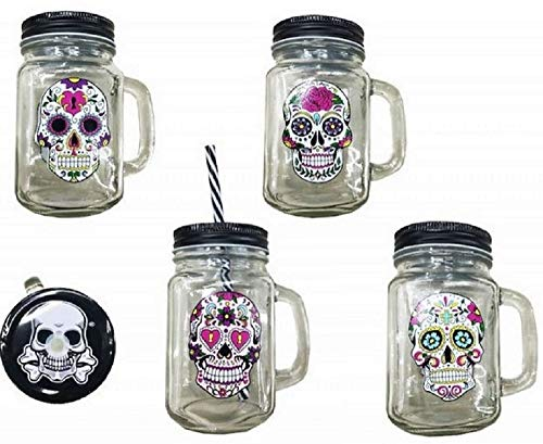 Forest 1 Mason JAR Death Head MEXIKANISCHER Glas-Stopper-Stroh-Becher FRUCHTSAFT (Stroh Mason Jar)