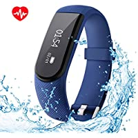 OMORC Heart Rate Monitor IPX7 Waterproof Smart Fitness Bracelet Sport Pedometer Activity Tracker with Music Control, Alarm, Sleep&Step Tracker, Calorie Counter for all Android Phone and iPhone