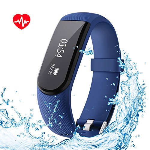 OMorc Heart Rate Monitor IPX7 Waterproof Smart Fitness Bracelet Sport Pedometer Activity Tracker with Music Control, Alarm, Sleep&Step Tracker, Calorie Counter for all android phone and iphone - Blue
