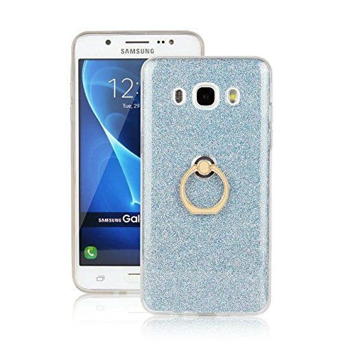 Luxus Bling Sparkle Style Case, Soft TPU [Silikon] Flexible Glitter Back Cover mit Fingerring Stand für Samsung Galaxy J5 2016 ( Color : White ) Blue