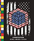 Composition: Wide Ruled American Flag Rubik Cube Writing Notebook