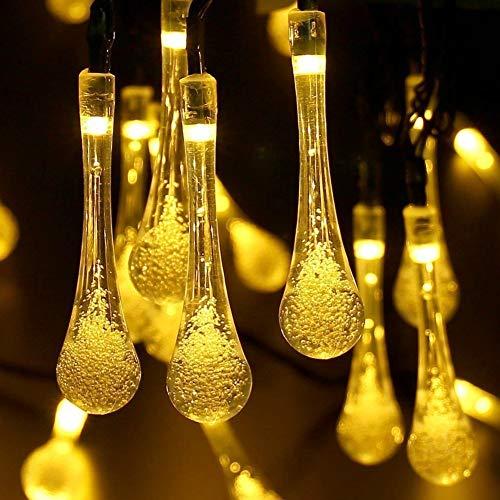 Solar Wassertropfen, 7M 50LED Solar Drop Lights Water Drop Lichterkette Wasserdicht für Outdoor, Garten, Weihnachtsschmuck (Warm White) Drop-off-panel